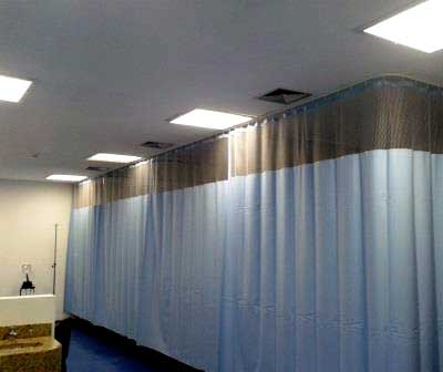 Curtain wall for hospital cubicles